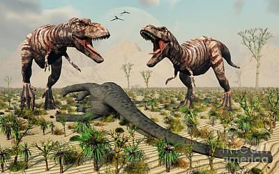 Confrontation Between A Pair Of T. Rex Art Print by Mark Stevenson