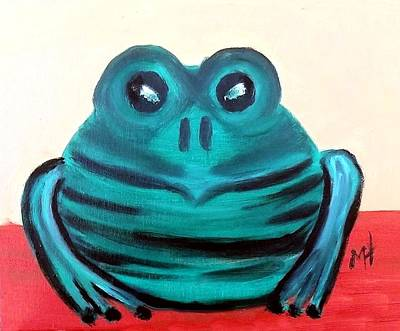 Art Print featuring the painting Contented Male Frog by Margaret Harmon