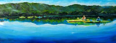 Conversation At Spring Lake Art Print by Terrence  Howell