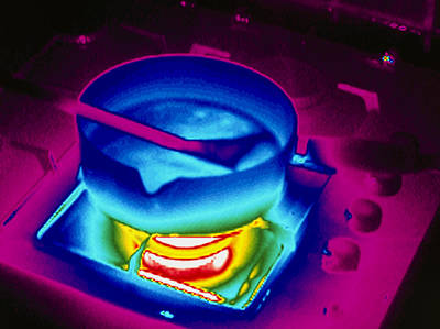 Cooking On A Gas Stove, Thermogram Art Print by Tony Mcconnell
