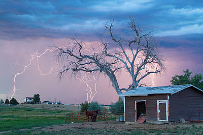 Country Horses Lightning Storm Ne Boulder County Co  76 Art Print by James BO  Insogna