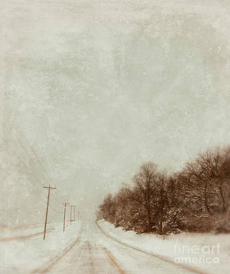 Telephone Poles Photograph - Country Road In Snow by Jill Battaglia
