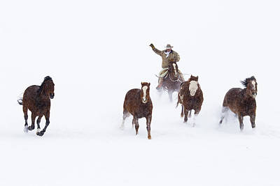Cowboys And Horses In Winter Art Print by Frank Lukasseck