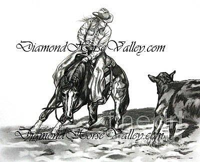 Working Cowboy Drawing - Cowgirls Showtime by L Scepkova