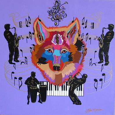 Music Themed Art Painting - Coyote Harmony by Bill Manson