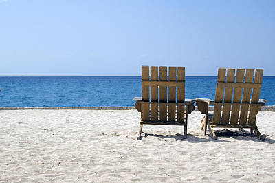 Art Print featuring the photograph Cozumel Mexico Beach Chairs And Blue Skies by Shawn O'Brien