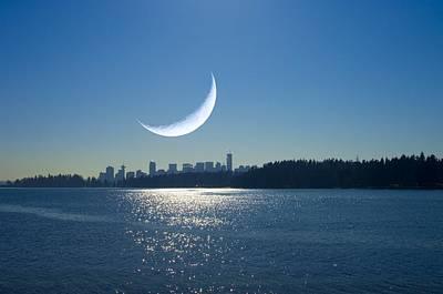 Crescent Moon Over Vancouver Art Print by David Nunuk