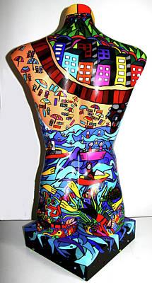 Crowded Beach 2 Original by Karen Elzinga