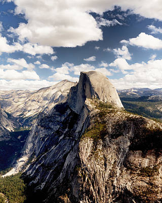 Cumulus Clouds And Half Dome Yosemite National Park Art Print by Troy Montemayor
