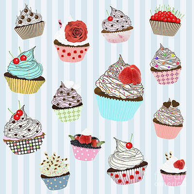Strawberries Digital Art - Cupcake  by Setsiri Silapasuwanchai