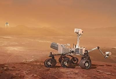Braking Photograph - Curiosity Rover On Mars, Artwork by Henning Dalhoff