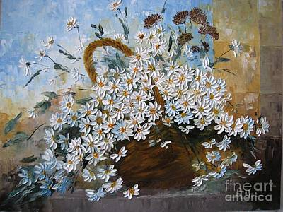 Art Print featuring the painting Daisies by AmaS Art