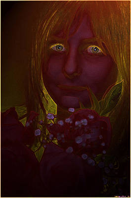 Photograph - Dark Colorized Girl With Flowers by Debbie Portwood