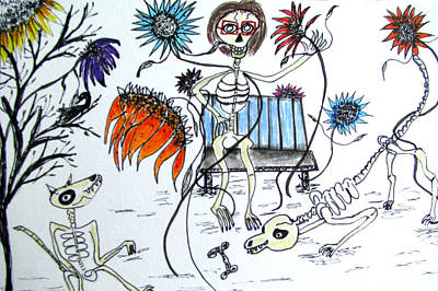 Drawing - Day Of The Dead Dog Park by Barbara Giordano