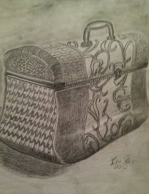 Still Life Drawings - Decorative Basket by Irving Starr