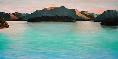 Sunset Over Water Painting - Derwentwater Lake District England by Ethel Vrana