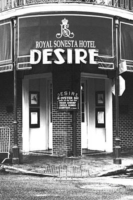 Photograph - Desire Corner Bourbon Street French Quarter New Orleans Black And White Film Grain Digital Art by Shawn O'Brien