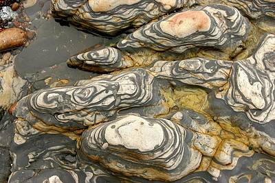 Detail Of Eroded Rocks Swirled Art Print by Charles Kogod