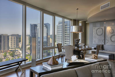 Dining Area With View Of City Art Print