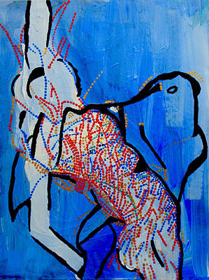 African Traditional Dances Painting - Dinka Corset - Manlual - South Sudan by Gloria Ssali