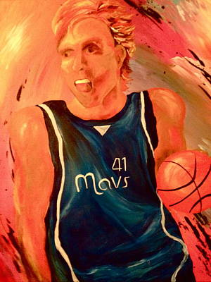 Mavs Painting - Dirk  by Amy Buyers