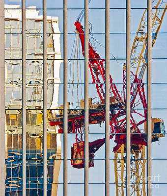 Tower Crane Photograph - Distorted Reflection Of A Tower Crane by Thom Gourley/Flatbread Images, LLC