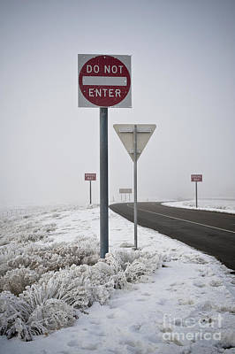 Do Not Enter Signs By Snowy Road Art Print by Dave & Les Jacobs