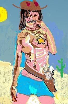 Cowboy Hat Mixed Media - Does This Gun Make Me Look Fat by Jay Manne-Crusoe
