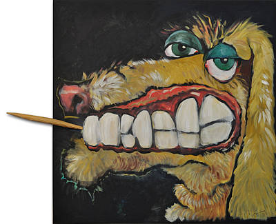 Painting - Dog With Toothpick by Tim Nyberg