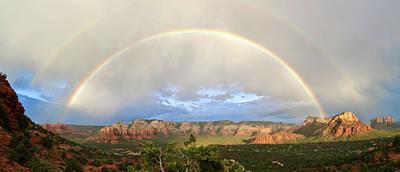 Double Rainbow Over Sedona Art Print by David Sunfellow