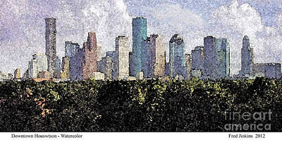 Houston Astros Painting - Downtown Houston by Fred Jinkins
