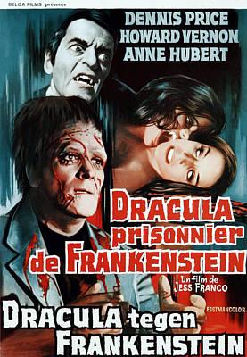 Dracula Contra Frankenstein, Aka Art Print by Everett