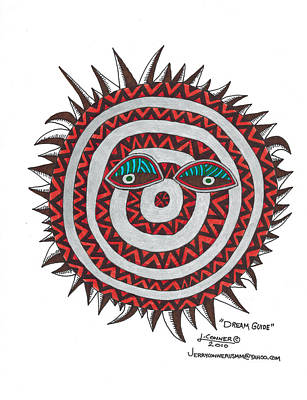 Simplicity Drawing - Indian Mask by Jerry Conner