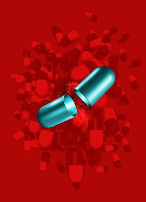 Healthcare And Medicine Photograph - Drug Capsules, Artwork by Victor Habbick Visions
