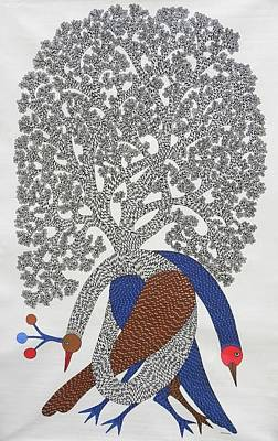 Gond Painting - Ds 365 by Dilip Shyam