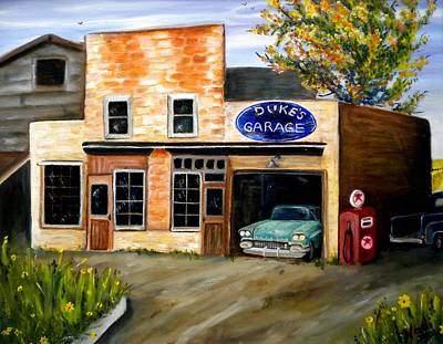 Duke's Garage Art Print by Renate Nadi Wesley