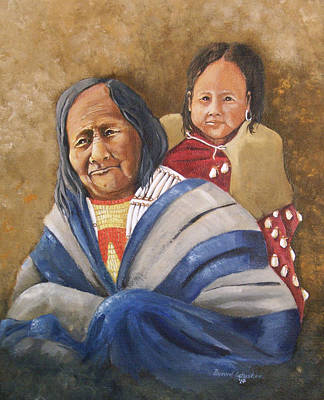 Eagle Feather And Child Art Print by Raymond Schuster