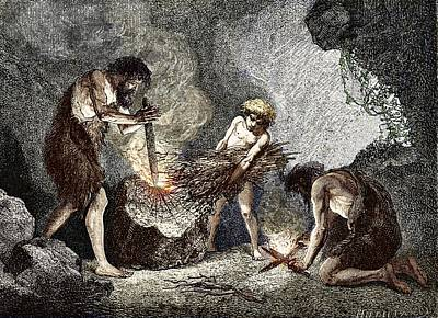 Early Humans Making Fire Art Print by Sheila Terry