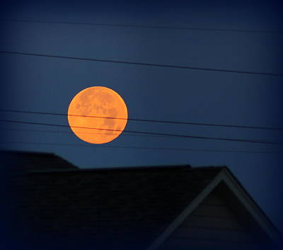 Photograph - Early Morning Full Moon Over Walton Kentucky by Maureen  McDonald