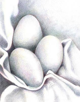 Eggs In Folds Art Print by Lissa Rachelle