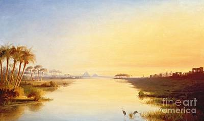 Reflecting Sunset Painting - Egyptian Oasis by John Williams