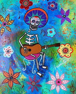 Day Of The Dead Painting - El Gitarero by Pristine Cartera Turkus