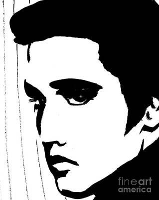 Elvis In Black And White Art Print