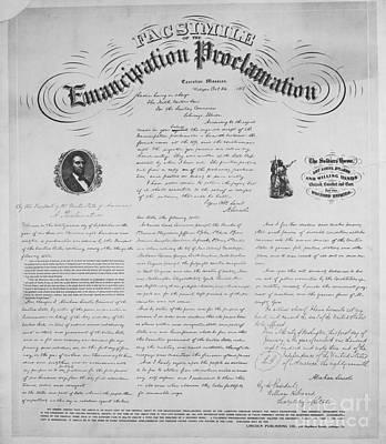 Abolition Photograph - Emancipation Proclamation by Photo Researchers