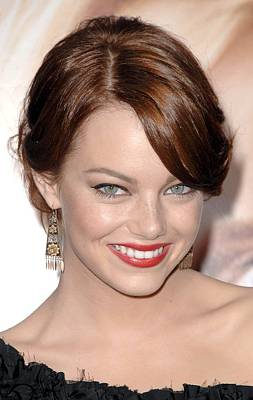 Hair Bun Photograph - Emma Stone At Arrivals For Premiere by Everett