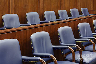 Empty Jury Seats In Courtroom Art Print by Jeremy Woodhouse