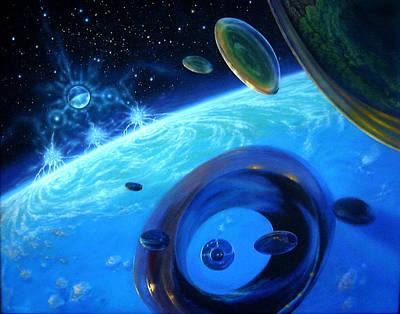 Eon's Web-orbital Encounter Art Print by Pat Lewis