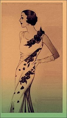 Vintage Fashion Mixed Media - Evening Elegance by Susan  Epps Oliver