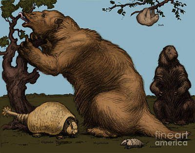 Extinct Fauna Print by Photo Researchers, Inc.