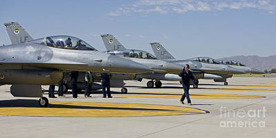 F-16 Pilots Work With Crew Chiefs Art Print by HIGH-G Productions